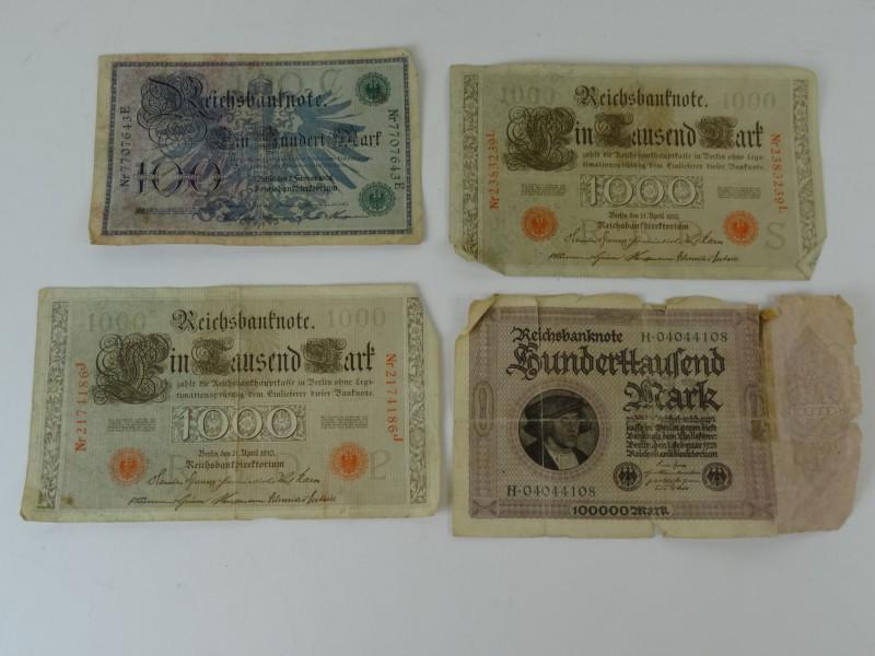 Lot van Reichsbanknote 1908 tot 1923