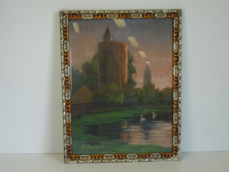 Charles POUPAERT:  oude toren, pastel 20e eeuw