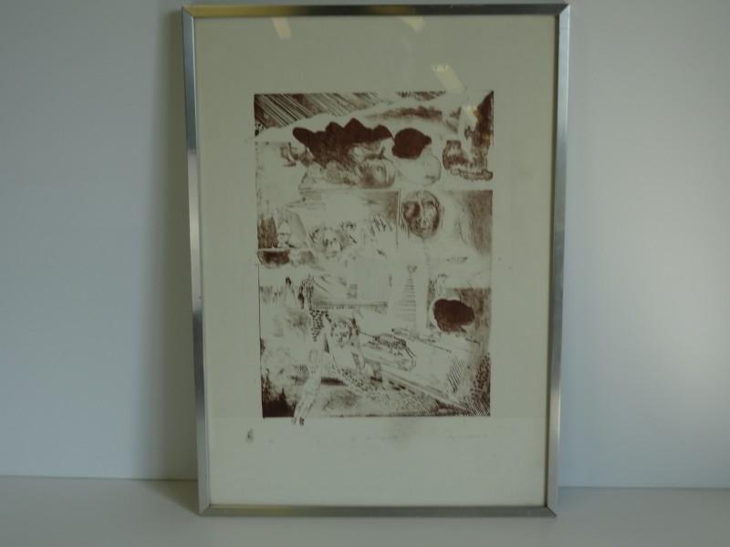 "Willy Van Eeckhout print getiteld ""robe ... elle s' approche"""