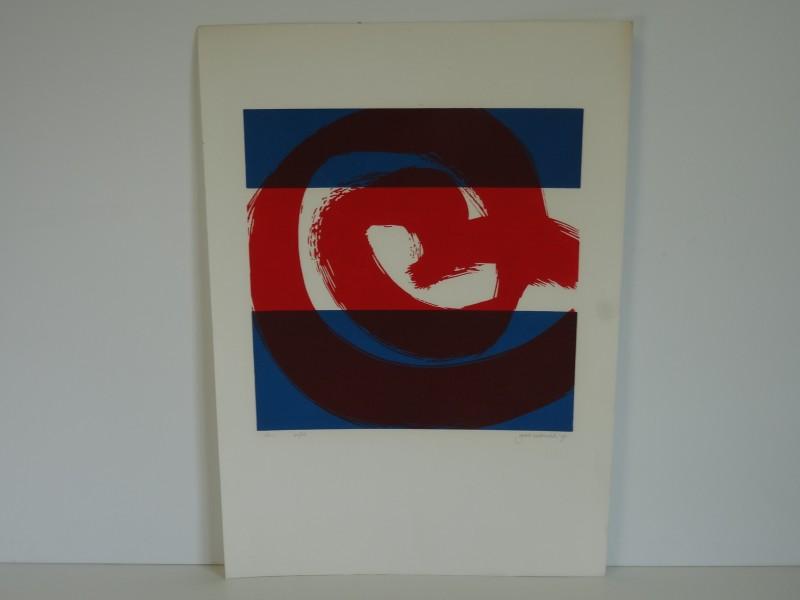 Kleurenlitho van Gerrit Westerveld 1990 getiteld 181