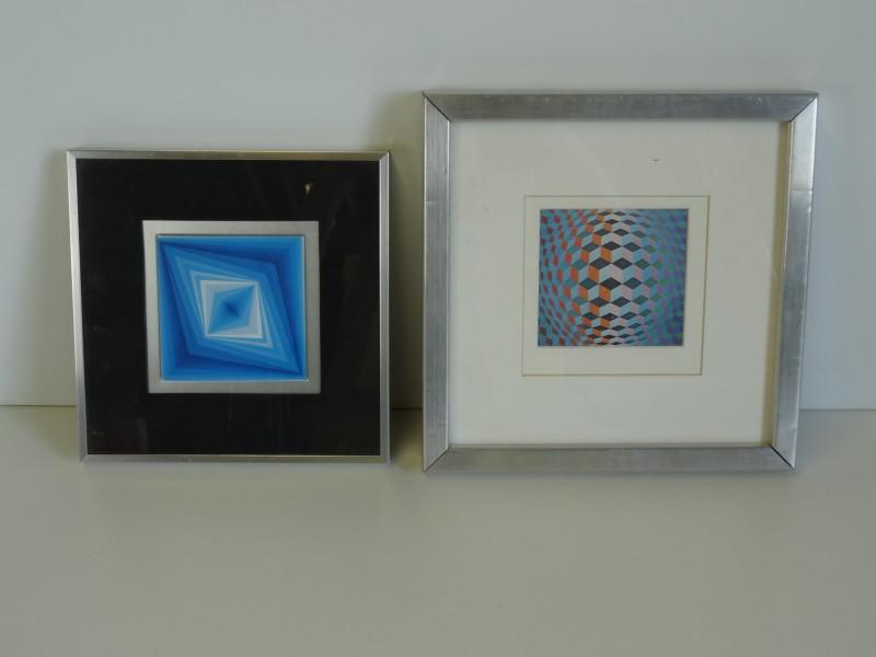 2 Op-Art kaders Victor Vasarely prints