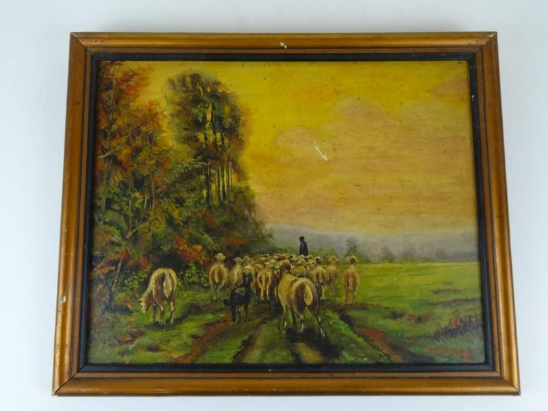 P. Vandenbergen :herder met schapen 1944