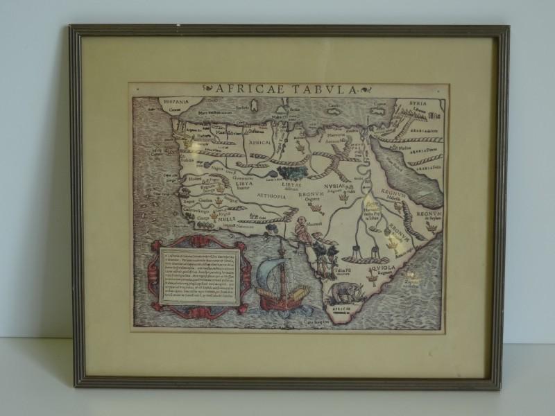 Sebastian Münster, Africae tabula gekleurde kaart leeftijd onbekend