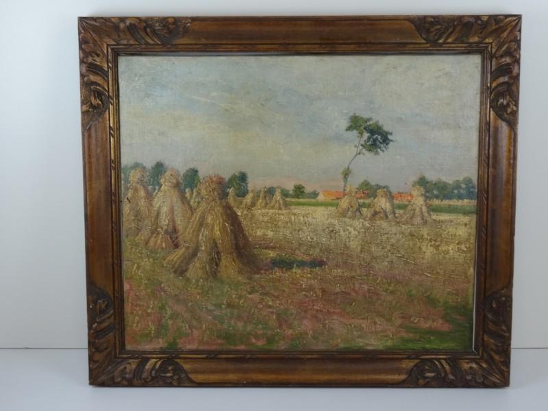 oud schilderij: veld met hooioppers