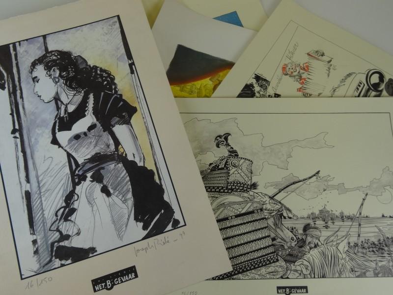 5 x serigrafieën van diverse stripauteurs