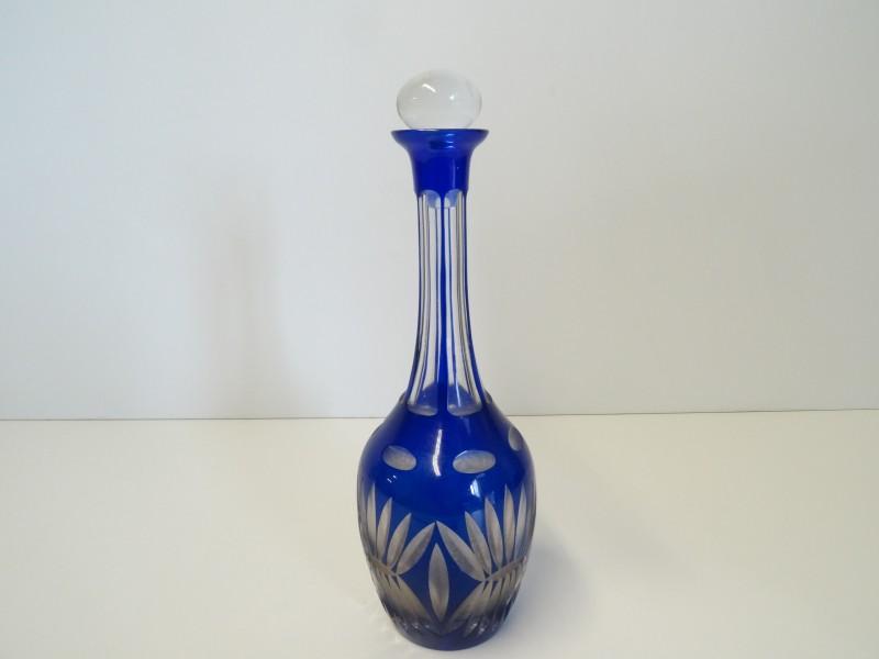 vintage Boheemse kobaltblauwe karaf