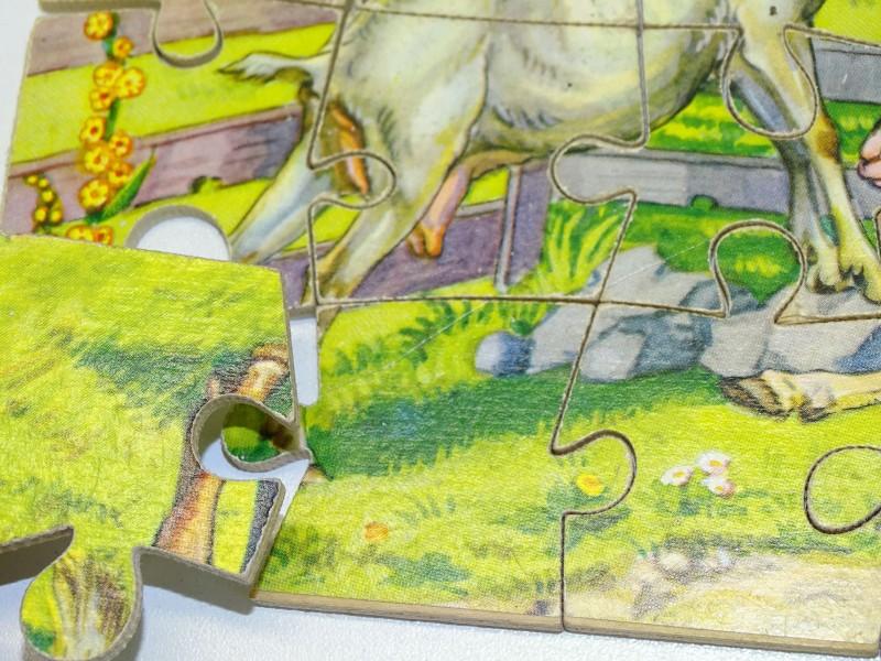 Houten Dubbelpuzzel: Paarden + Geiten, W.T.