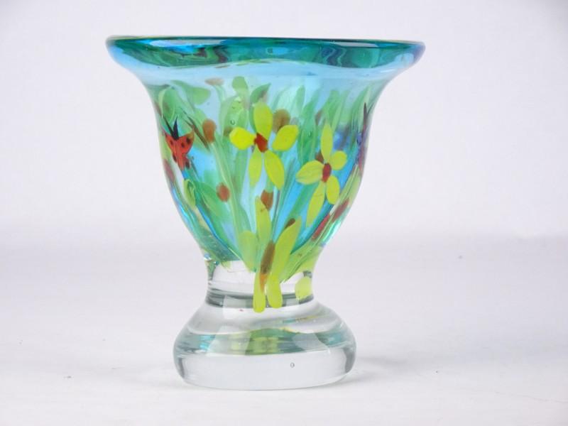 Art-nouveau glazen schaal met bronzen houder