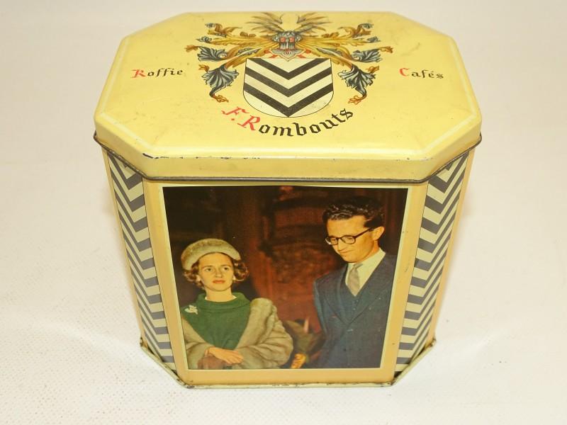 Blikken doos Koning Boudewijn en Koningin Fabiola, F. Rombouts