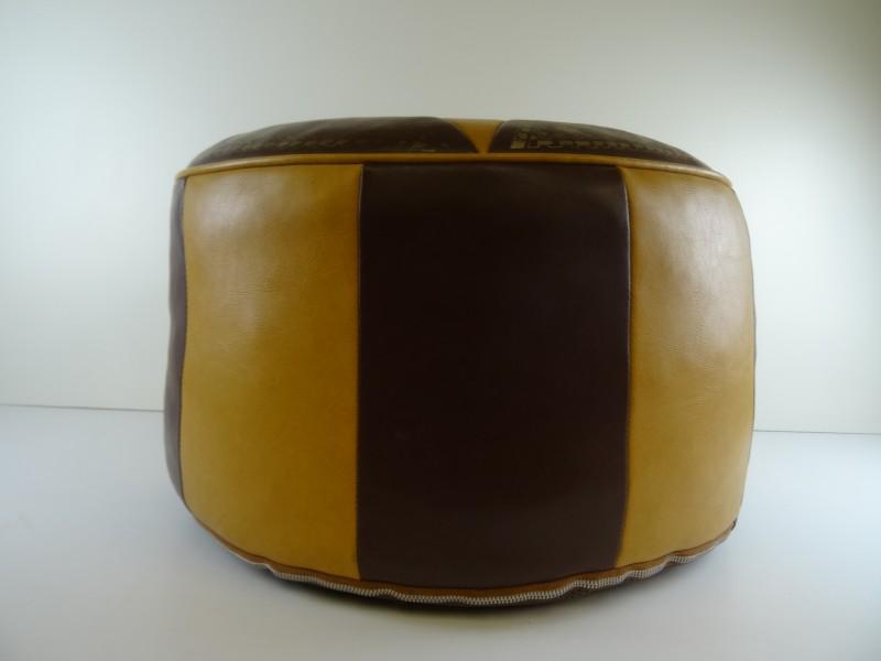 Vintage Ottomaanse Patchwork  faux leder poef