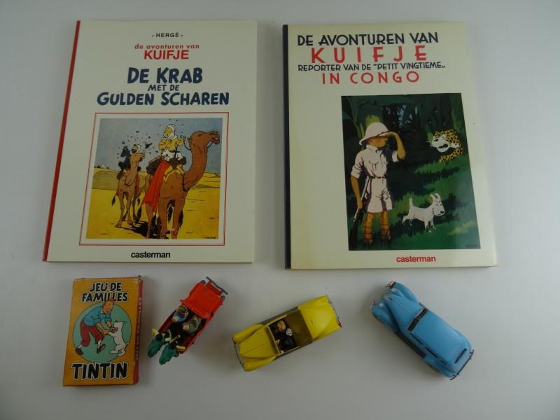 Lot 1 Hergé: 2 stripalbums en 3 autootjes + kaartspel