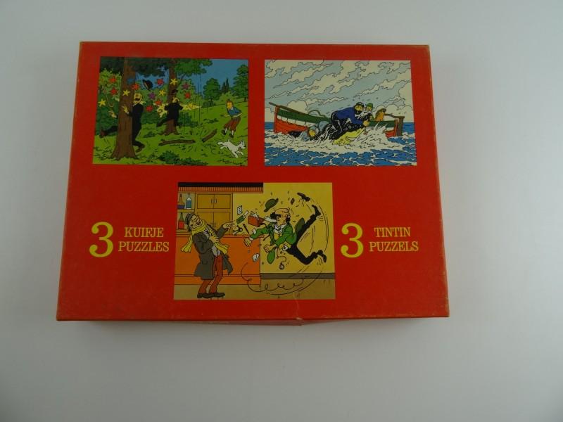 Lot 3 Hergé: Puzzel Kuifje 1977 set van 3 puzzels van 63 stuks elk