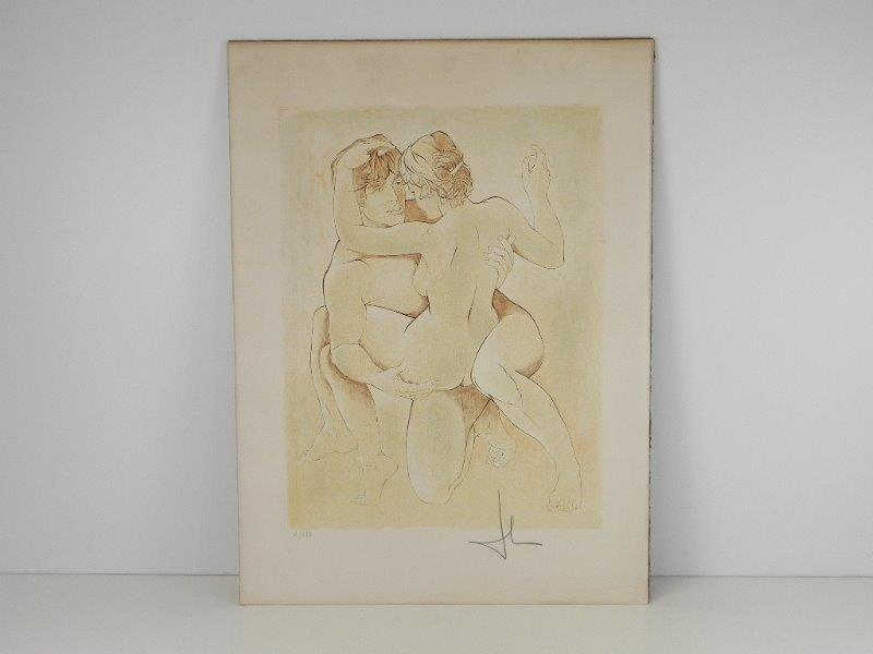 """Lithografie """"Le Couple"""" genummerd en gesigneerd Georges Ruseckis"""