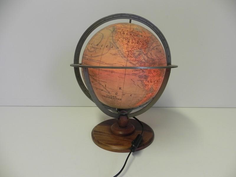 Vintage Wereldbol J.Forest (kaart) /Girard & Barrère