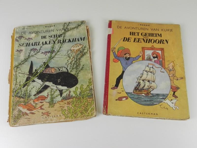 Hergé: Kuifje herdruk en eerste druk jaren '50 tweeluik Rackam Le Rouge