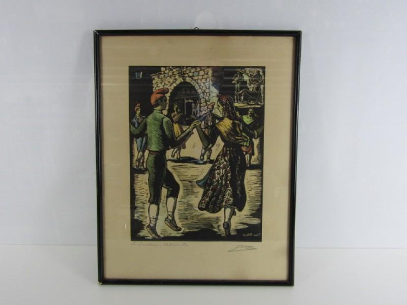 Prent, houtsnede, Juan Castells Marti, Sardane, gesigneerd, begin 20ste eeuw