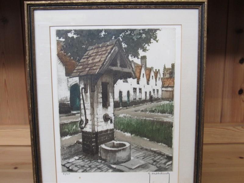Vlaams Begijnhof door Roger Hebbelinck, genummerd en gesigneerd