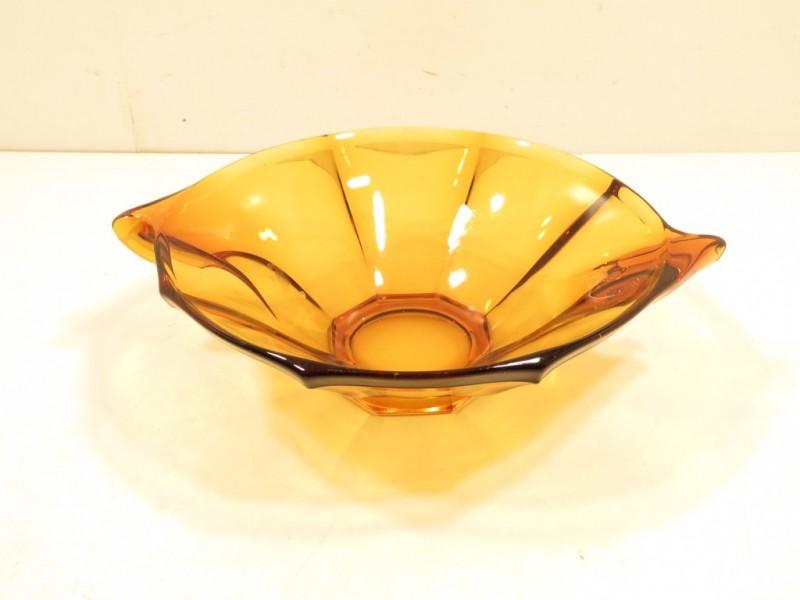 Fruitschaal in bruin glas
