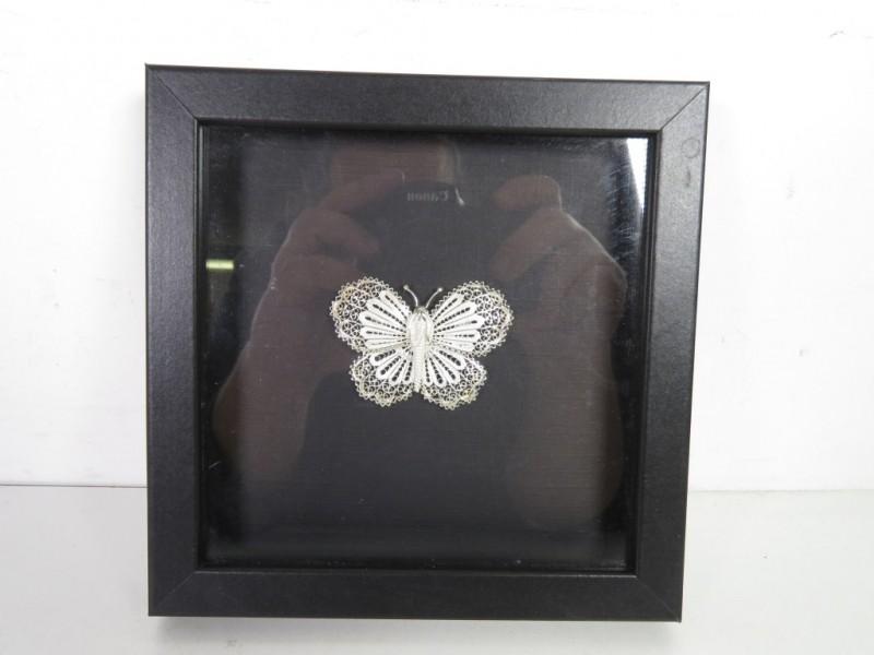 Metalen vlinder in kader