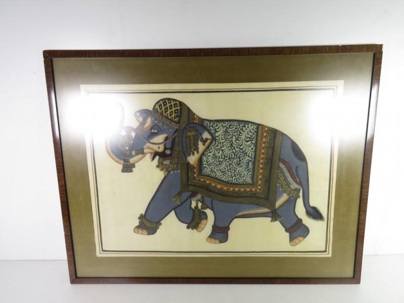 Schilderij olifant op zijde