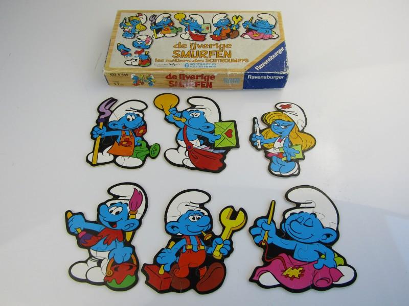 Houten Puzzel: De IJverige Smurfen, Ravensburger, Peyo 1983