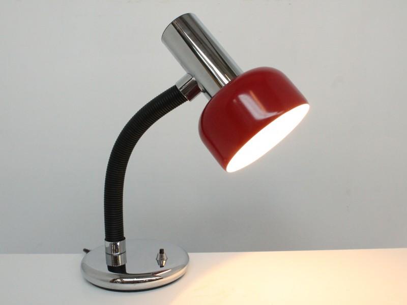 Vintage Tafellamp: Chrome - Rood