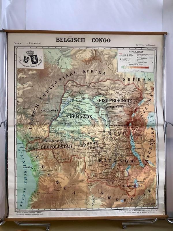 """Oude kaart """"Belgisch Congo"""""""