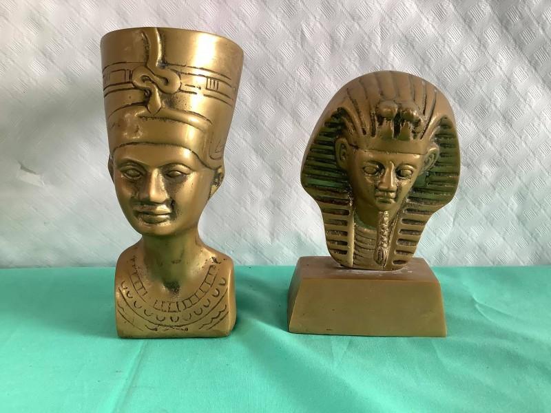 2 koperen Egyptische beeldjes