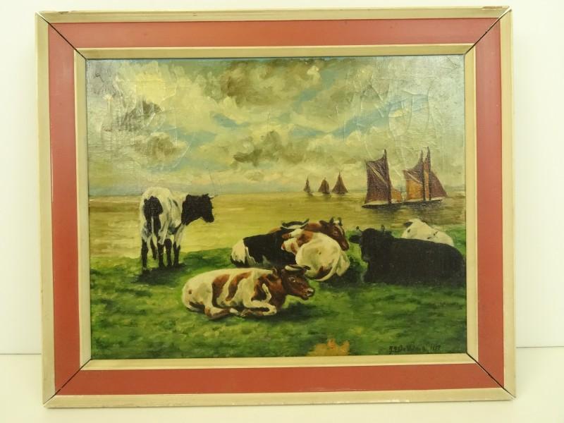 Schilderij op doek - koeien met zeezicht - gesigneerd