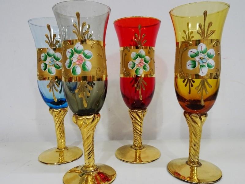 4 vintage muranoglazen