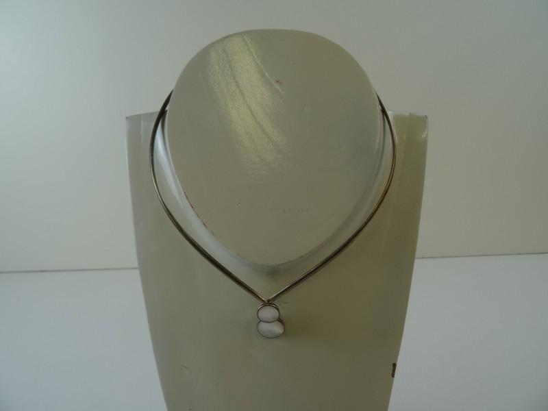 Vaste ketting 925 zilver met parelmoer