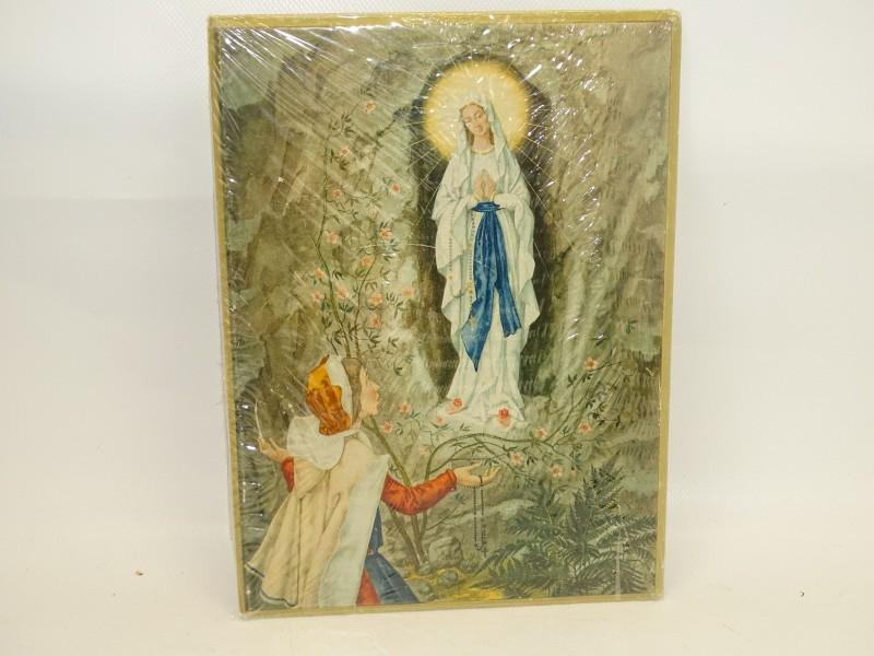 Vintage Prent: O. L. Vrouw Te Lourdes uit 1957