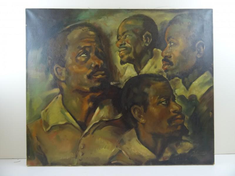 J. Geerts: Schilderij van 4 zwarte mensen 1967