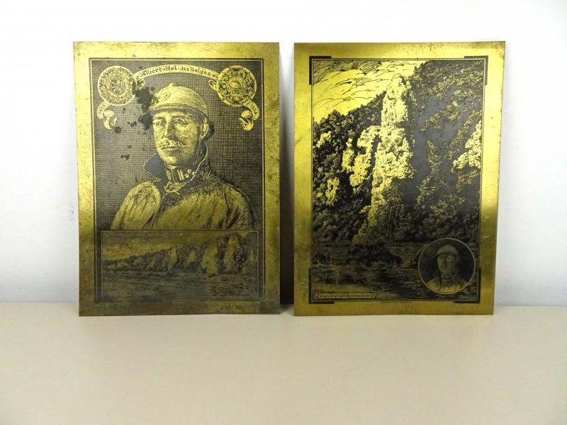 2 Vintage koperen platen (Koning Albert 1)