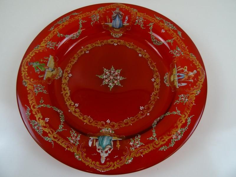 Antiek Ruby Rode schaal Venetiaans Salviati Moser