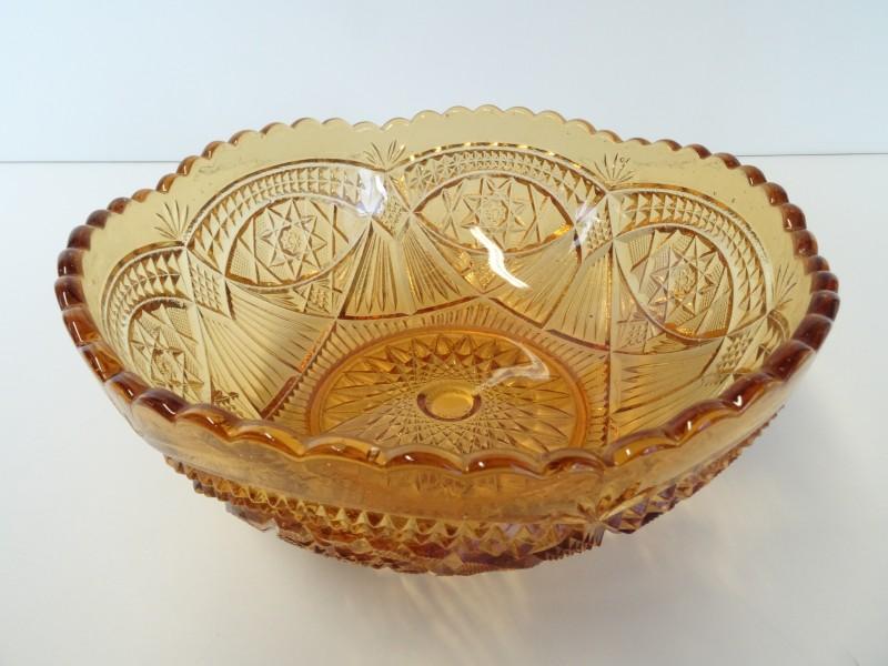Vintage persglas amber fruitschaal - Fait en Belgique