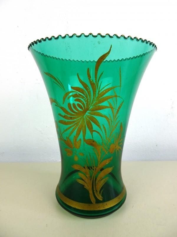 Vintage groen glazen vaas