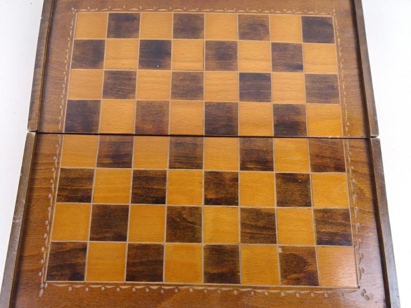 Houten schaakbord & pionnen