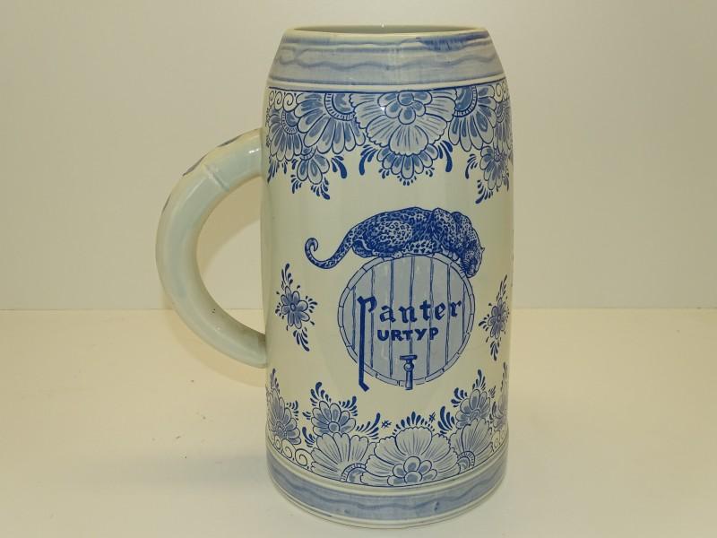 Extra Grote Bierkruik: Panter Urtyp, Delfts Blauw, 5 Liter