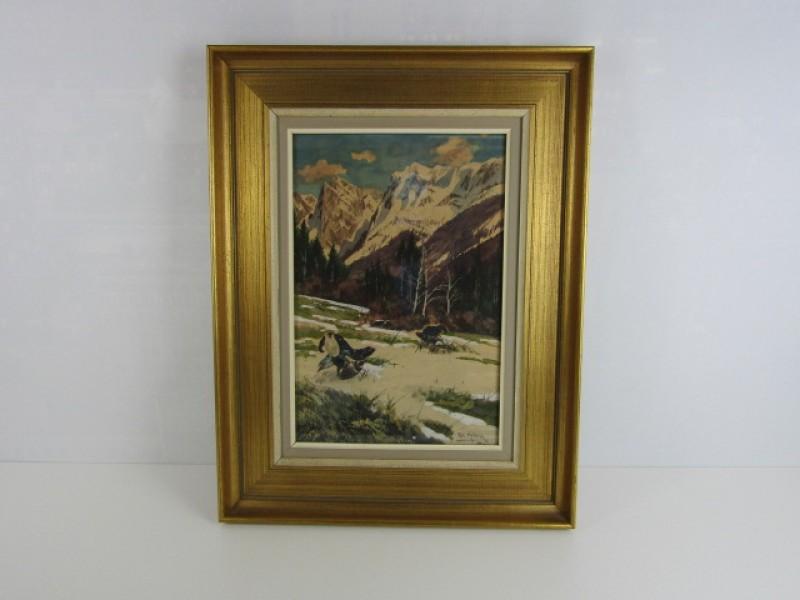 Schilderij Ed. Heller, München, Sneeuwlandschap met Vogels, Houten Kader