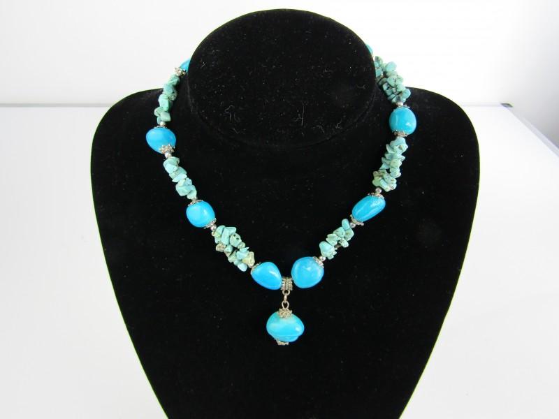 Halsketting met Edelstenen, Turkoois en Blauwe Jade