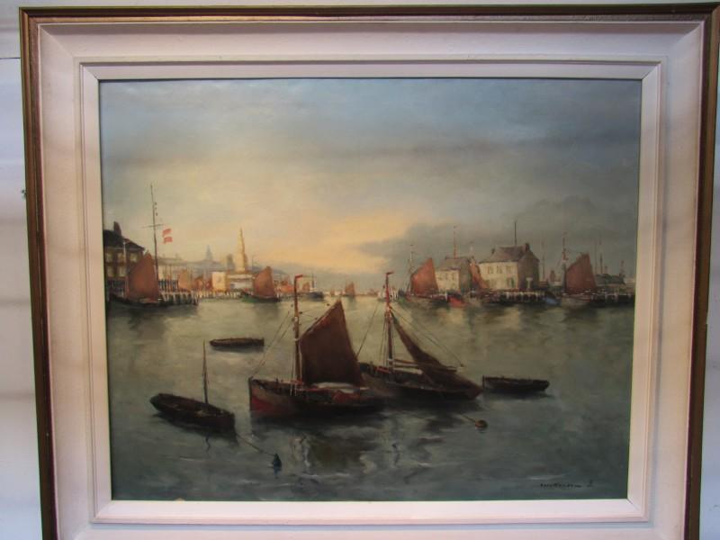 Luc Kaisin schilderij van een havenzicht
