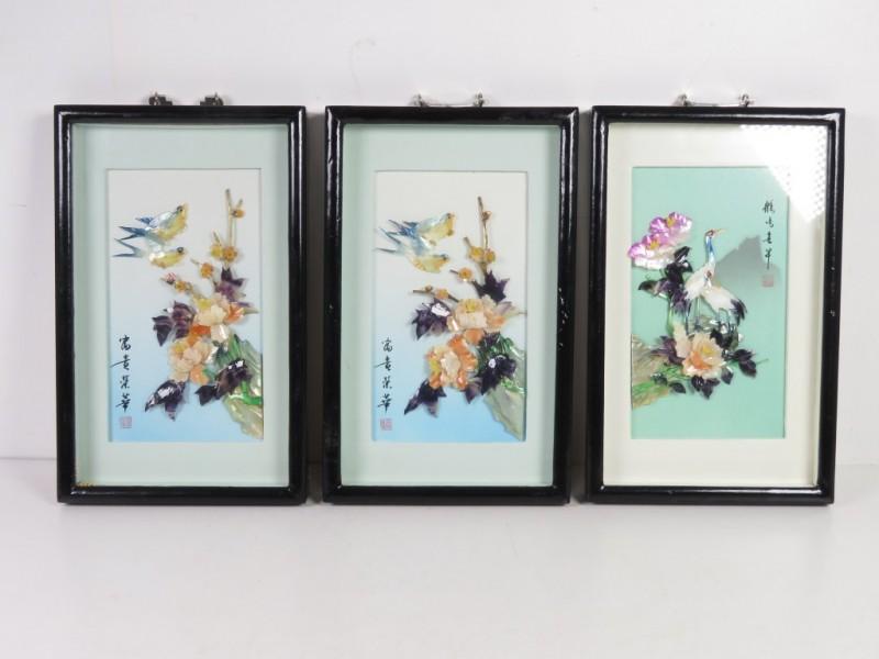 Set van 3 Chinese 3D kunstwerkjes
