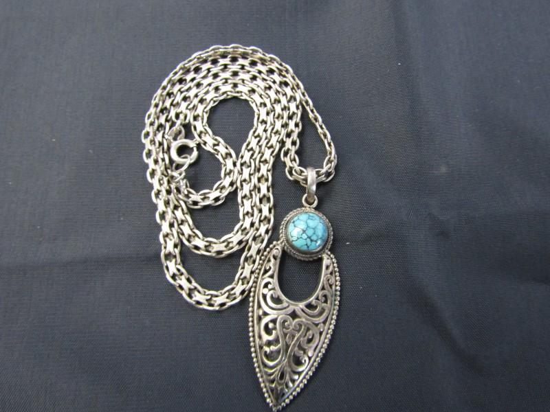 Halsketting met Hanger, Beide in 925 Zilver: Turkoois Steen