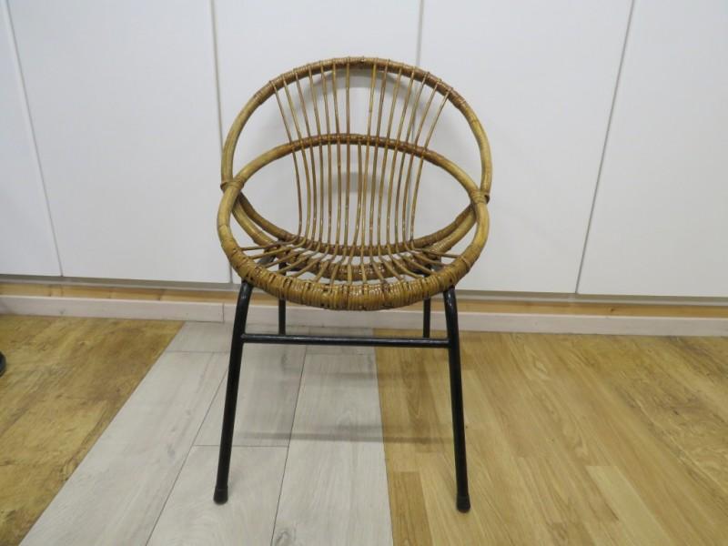 Vintage Rohe Noordwolde rotan stoel (rond model)
