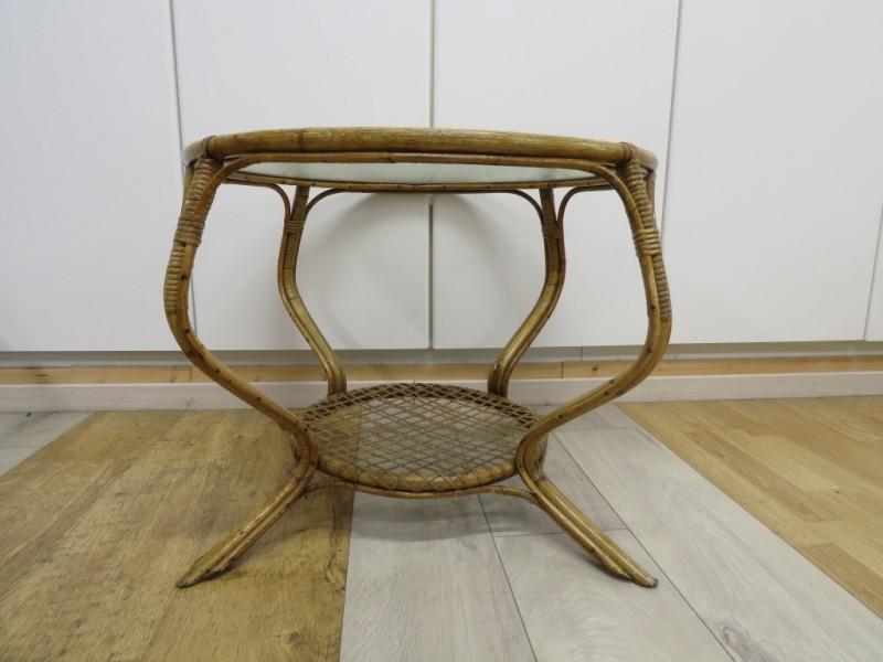 Vintage rotan salontafeltje met glazen blad