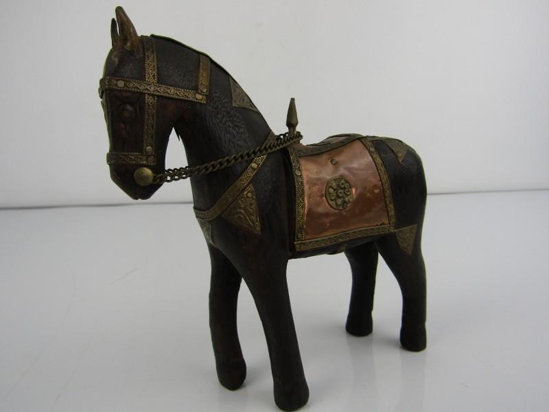 Decoratief Paard in Hout en Koper