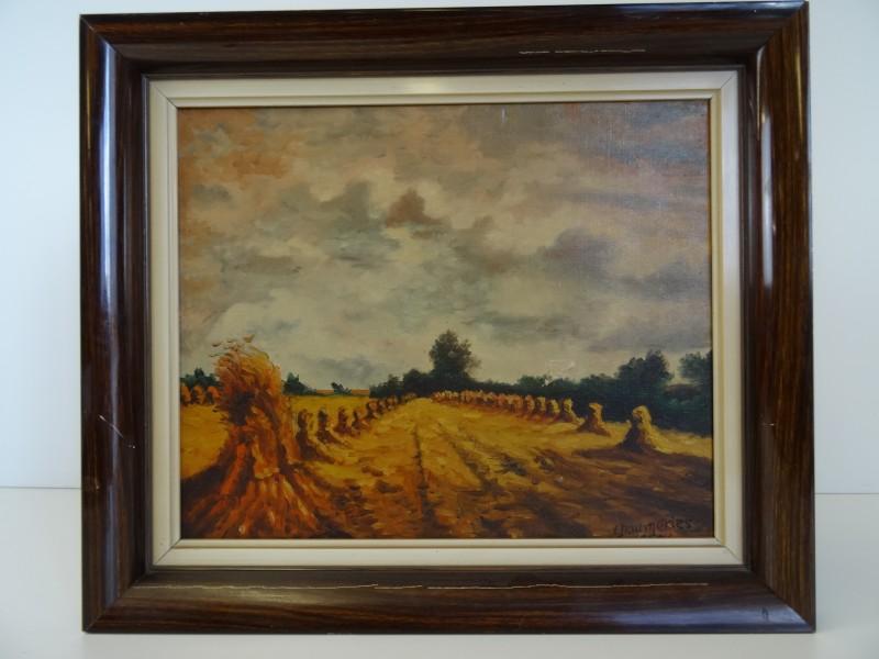 Olieverf op doek 'Meules de Paille' 1952 L. Daumeries