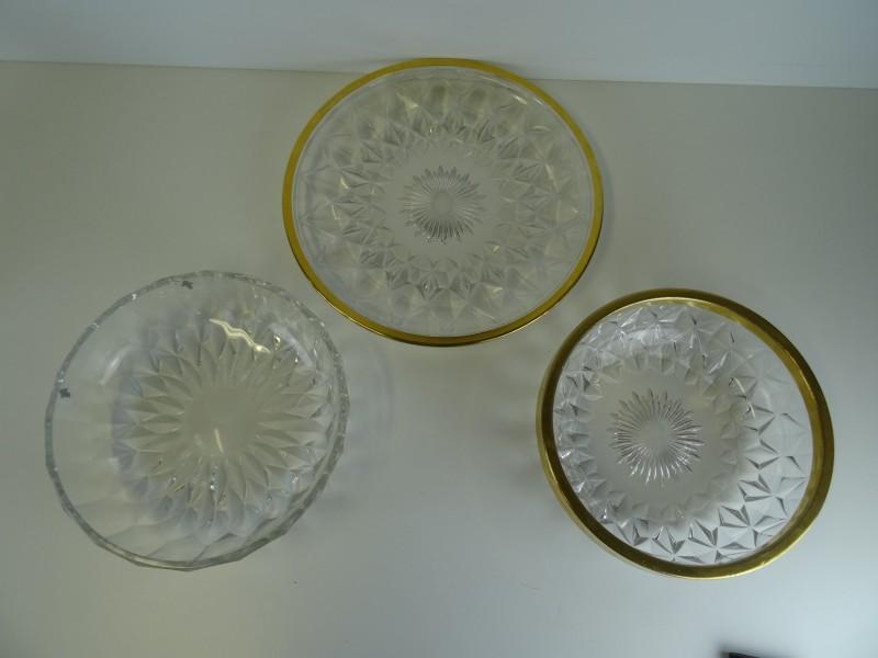 3 kristallen fruitschalen Val Saint Lambert