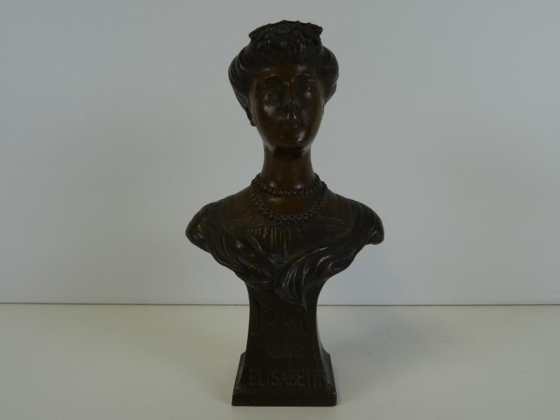 Art Nouveau borstbeeld van Koningin Elisabeth